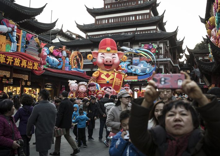 Festive pig-themed decorations cover Yuyuan Garden ahead of the Lunar New Year in Shanghai, China. The ...