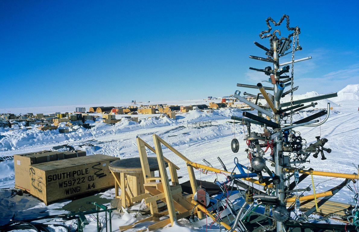 A scrap-metal Christmas tree was created by researchers stationed at the American Amundsen-Scott South Pole Station ...