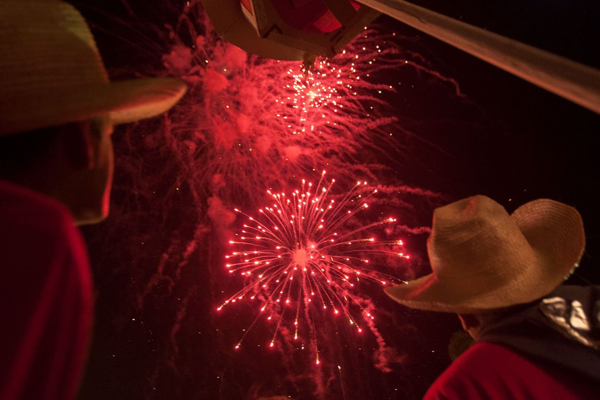 Christmas Eve fireworks, shown here in 2007, are part of Cuba's oldest festival, Las Parrandas, which ...