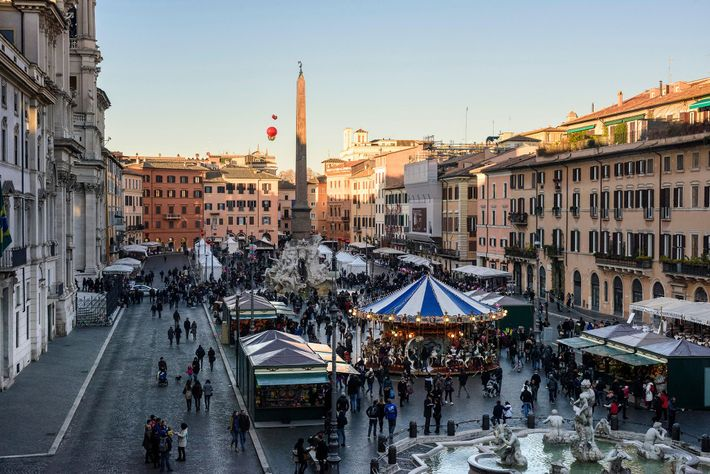 In Rome, the Christmas market covers Piazza Navona.
