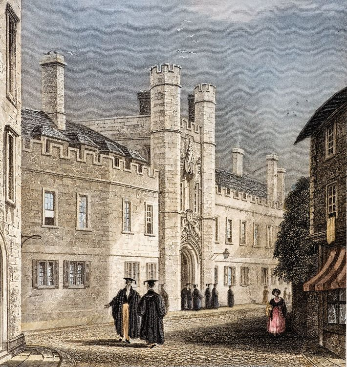 Christ's College, University of Cambridge, where Darwin studied from 1828 to 1831. The engraving is based ...