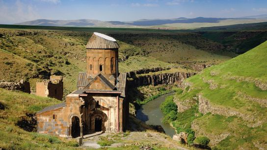 The Church of St. Gregory the Illuminator in Ani was built in 1215 alongside the Akhuryan ...