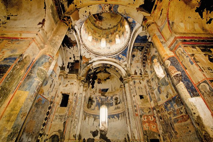 The lives of Jesus and St. Gregory the Illuminator are represented in frescoes inside Ani's 13th-century ...