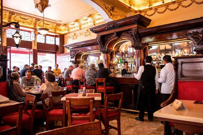 Bar La Ópera, a cantina where a bullet hole left by revolutionary leader Pancho Villa's gun ...