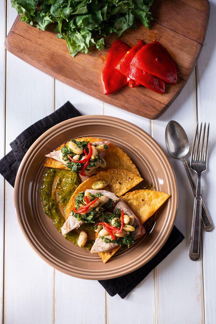 Tuna tostada with chimichurri.