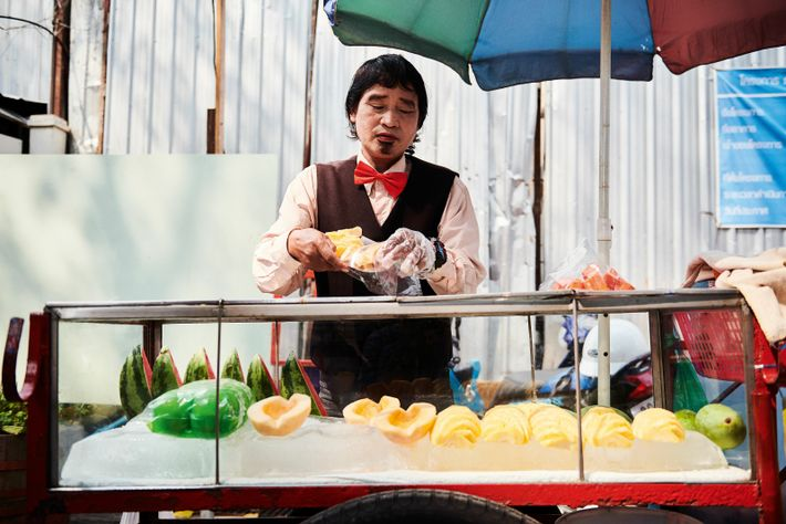 At Bangkok's Edge Festival, sharply-dressed fruit vendors sell dishes such as spiced beef brioche sandwiches and mangoes prepared ...