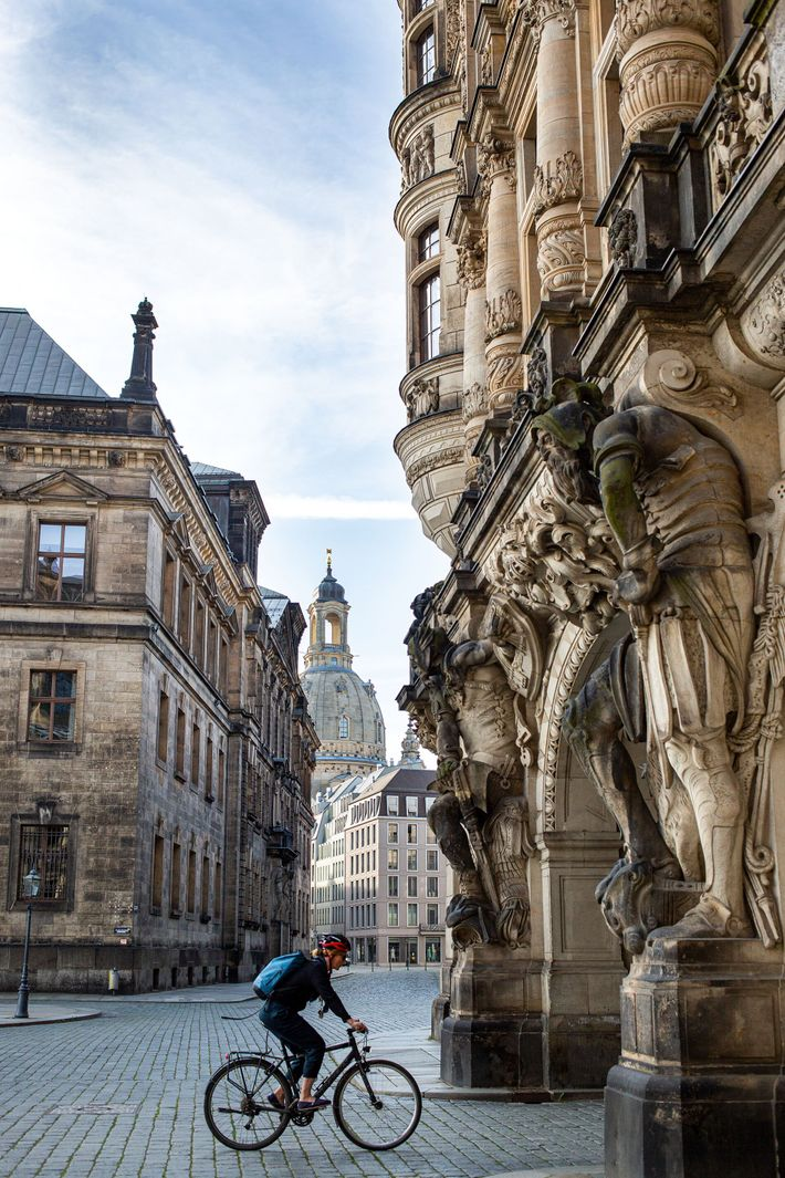 A cyclist passes by the Stallhof, part of the Dresden Castle complex, where — just out ...
