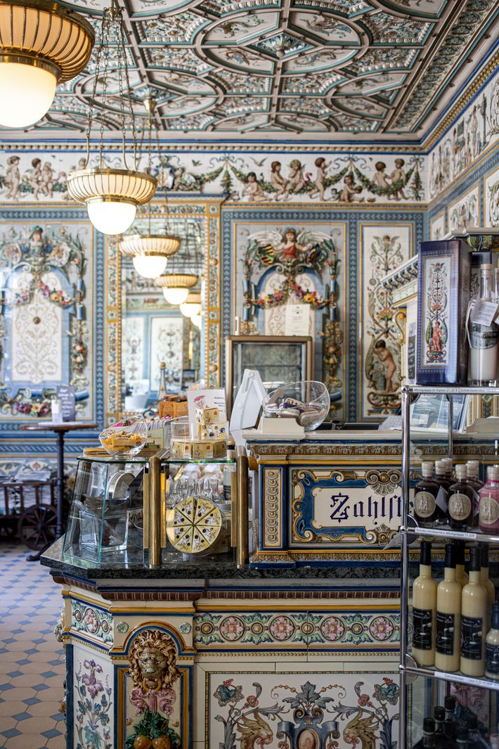 The eye-catching interior of Pfunds Molkerei dairy shop is the perfect surroundings for sampling delicious dairy ...