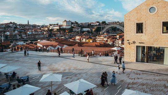 The central square at World of Wine — a cultural centre in the historic heart of the ...