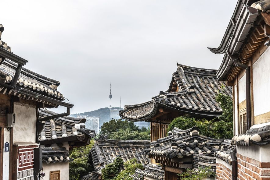 The ornate roofs of Bukchon Hanok Village, home to some of the city's best BBQ.