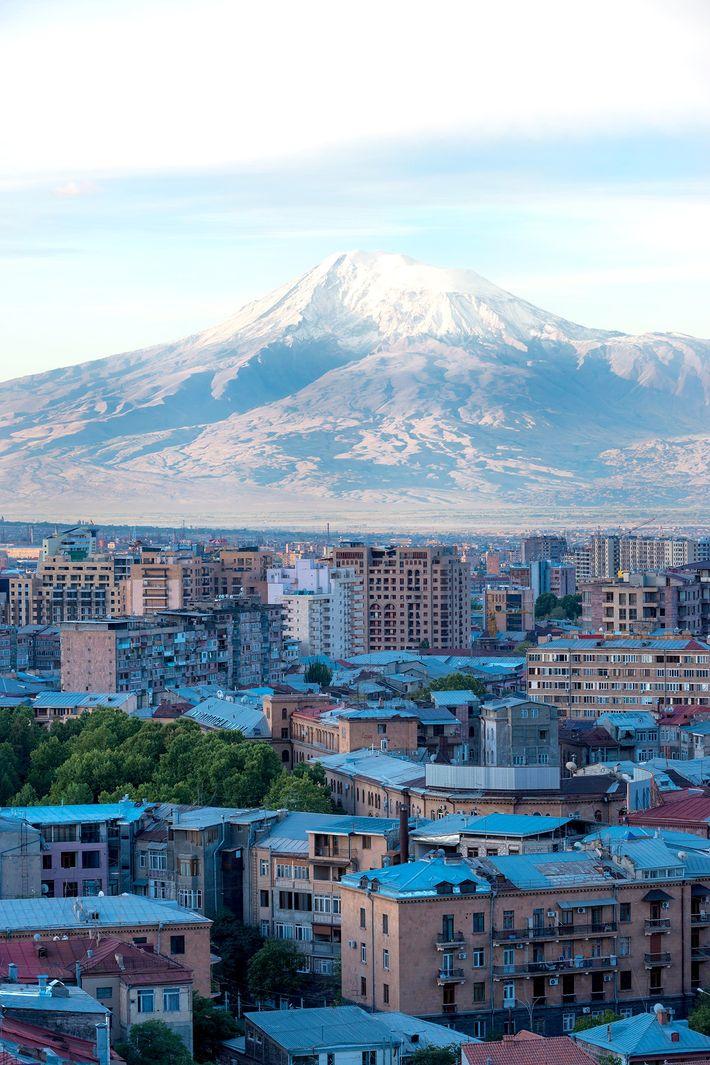 Mount Ararat and Yerevan viewed at sunrise