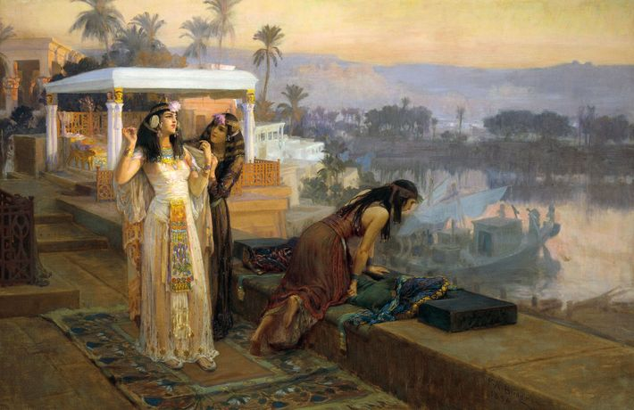 Cleopatra prepares to depart the island of Philae in this painting by 19th-century artist Frederick Arthur ...