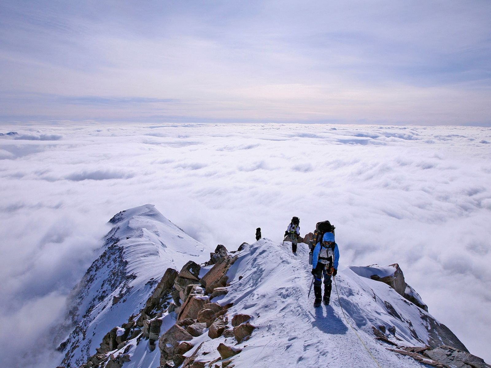 Mountaineers ascend Alaska's Denali, the highest mountain in North America.