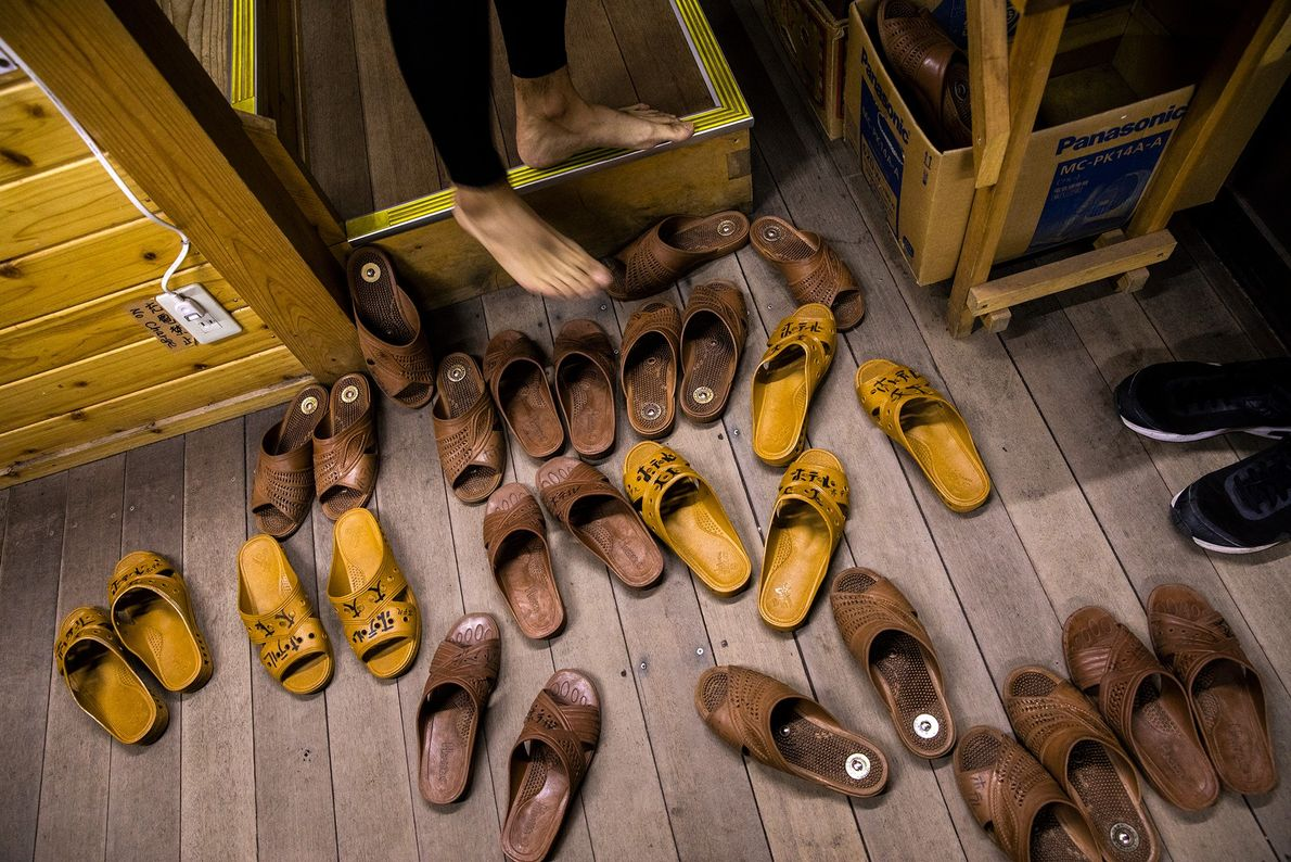 There are no shoes allowed in the lodges where climbers sleep.