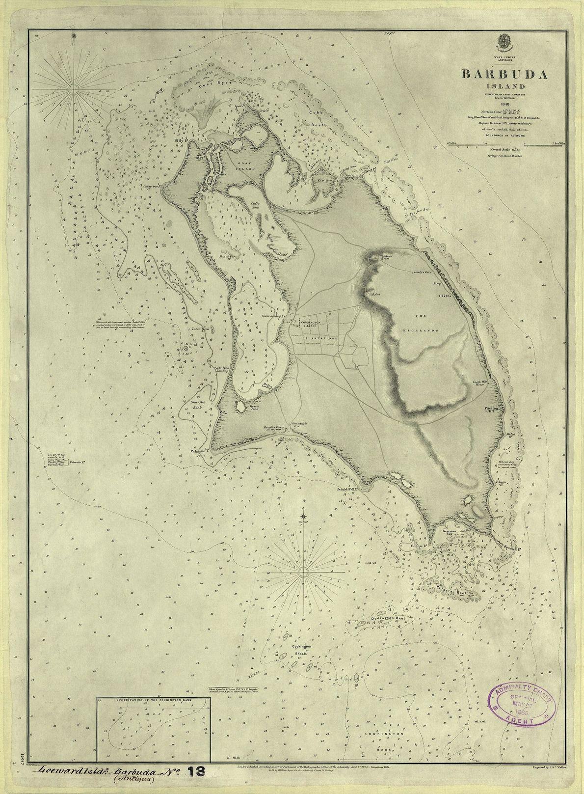 Historical map of Barbuda