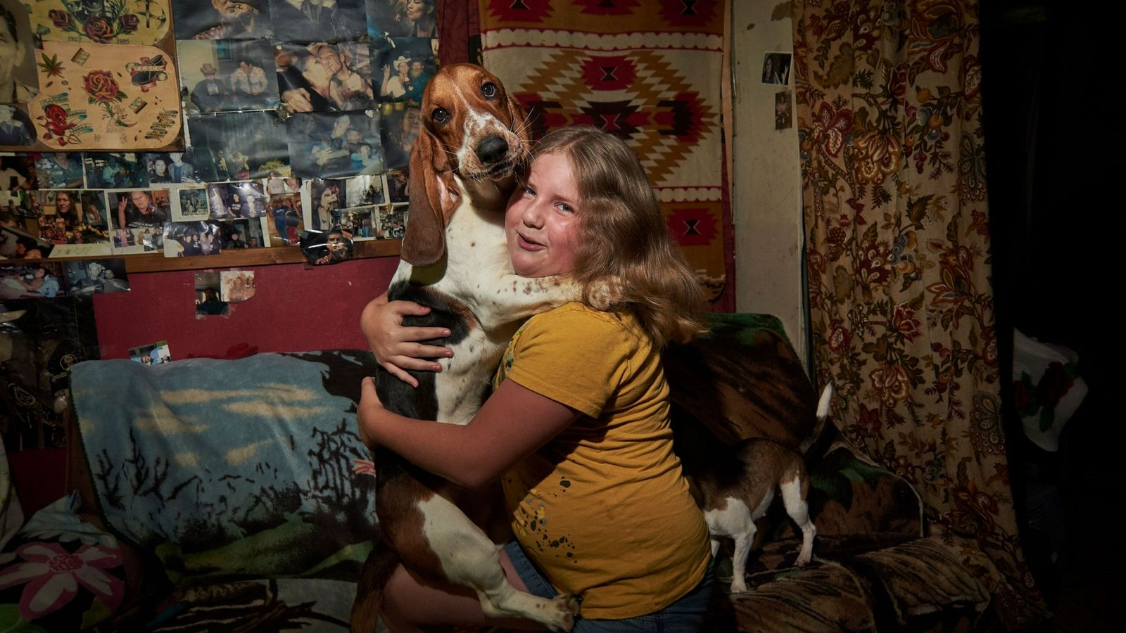A girl and her dog in Boone County, West Virginia.