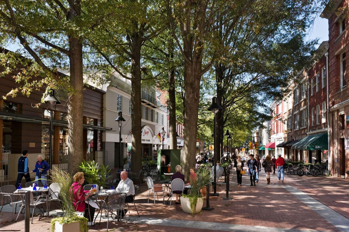 With a main street free of traffic, this charming downtown is the perfect place to sit ...