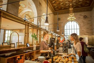 Crew Collective & Cafe represents today's contemporary coffee culture in a historic Montreal landmark.
