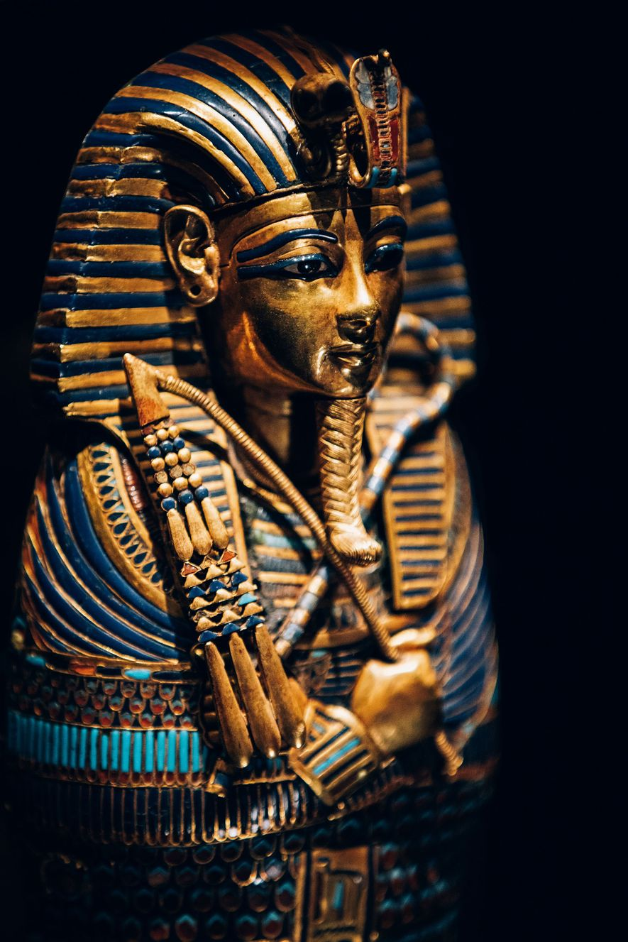 Detail of Tutankhamun's miniature gilded coffinette, which, despite being only 10 inches tall, is an enduring icon of Ancient Egypt.