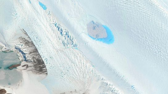 Small lakes dot the surface of the Langhovde Glacier in East Antarctica.
