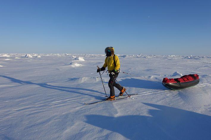 O'Brady skis a route near the North Pole.