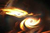 Artist's impression of binary black holes about to collide. It is not known if there were ...