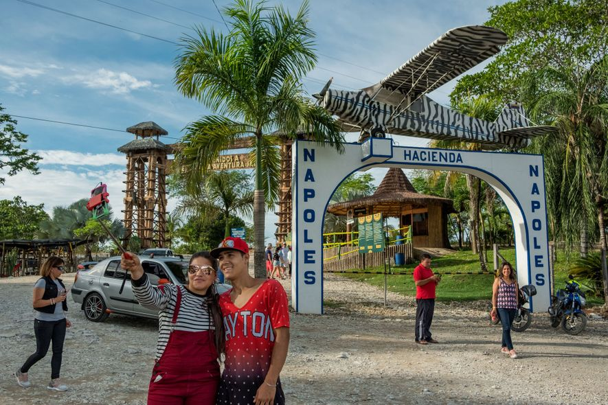 An airplane that drug lord Pablo Escobar used for smuggling cocaine adorns the entrance of Hacienda ...