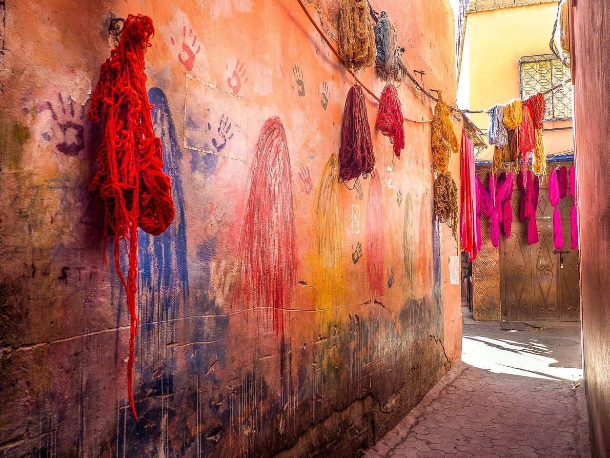 While exploring the labyrinth of marrakech's medina, my favourite section was the souk of the fabric ...