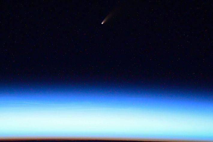 Roscosmos cosmonaut Ivan Vagner tweeted a picture of the Comet Neowise from the International Space Station.