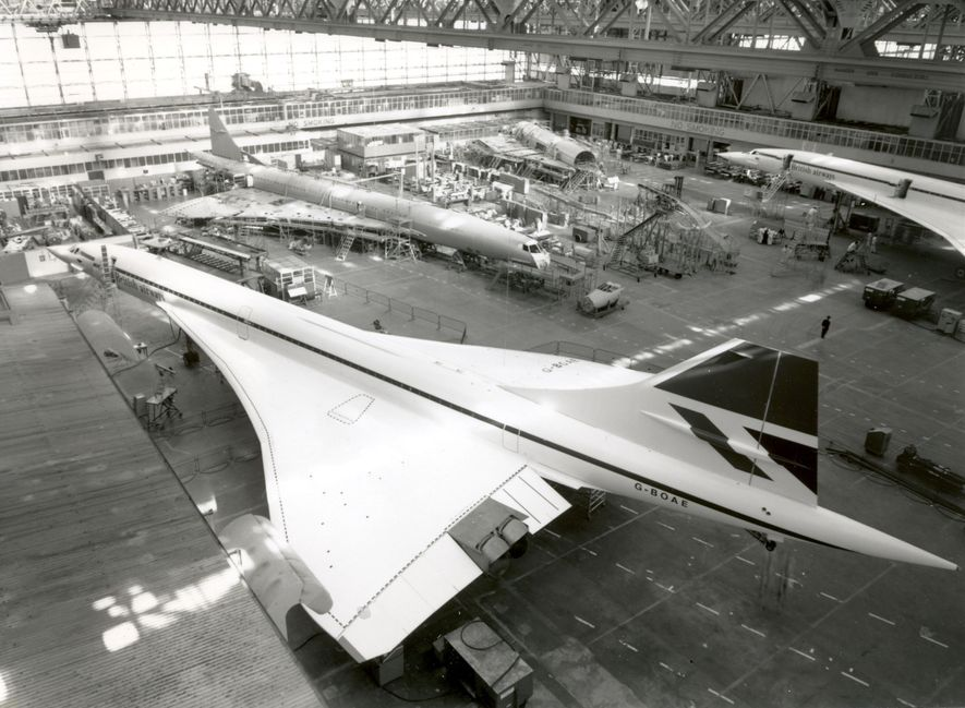 Concorde being constructed in the British Airways production hangar at Filton, Bristol.
