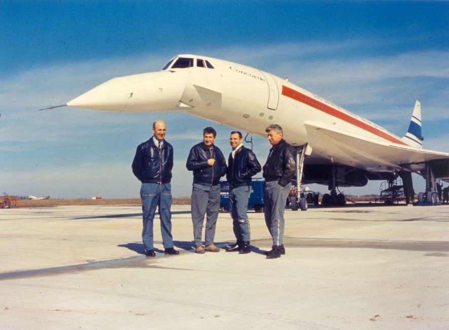 Concorde's first flight crew: (left-right): Captain André Turcat, co-pilot Jacques Guignard, flight engineer Henri Perrier and mechanic Michel Retif. The maiden flight of Concorde 001, on March 2 1969 , lasted 29 minutes at a leisurely 298 mph. The British equivalent, Concorde 002, completed its 22 minute maiden flight a month later on April 9th.
