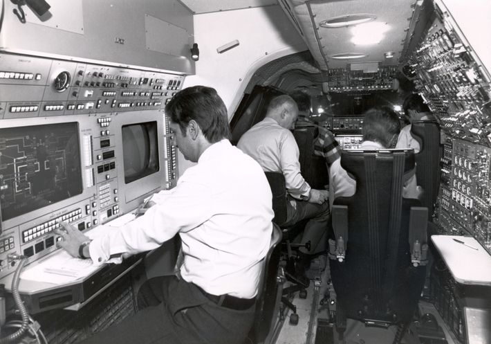 A test crew at work on Concorde. Streamlined and surprisingly small compared to a subsonic aircraft, ...