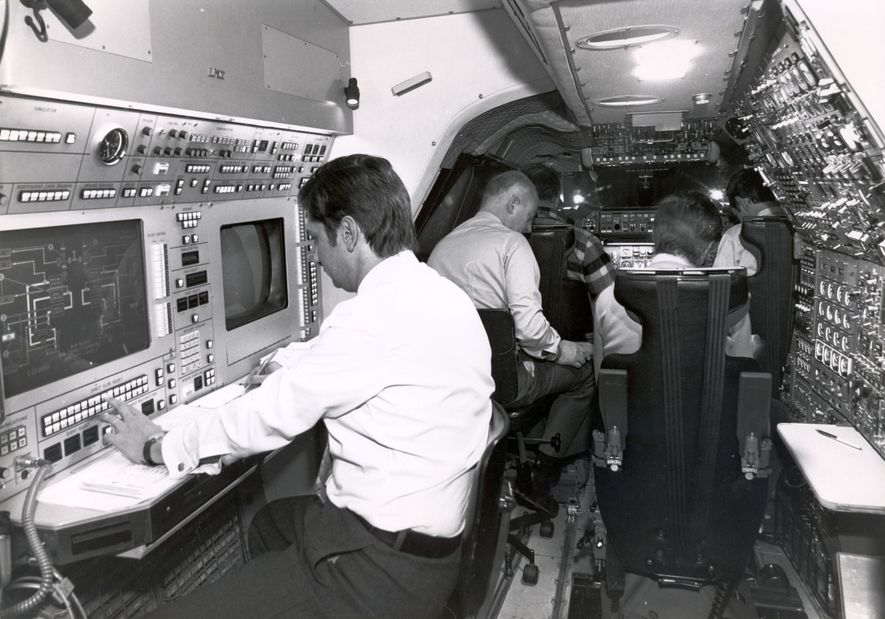 A test crew at work on Concorde. Streamlined and surprisingly small compared to a subsonic aircraft, space was a sacrifice for speed.