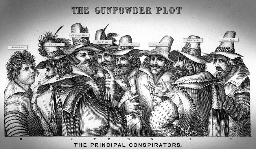 Robert Catesby, the mastermind of the Gunpowder Plot, is depicted (second from right) next to Fawkes, ...
