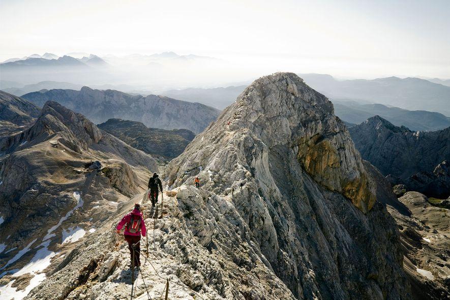 Hikers on Mount Triglav, Slovenia.