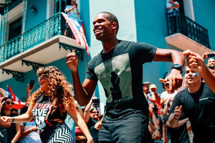 Dancing salsa in San Juan, Puerto Rico.