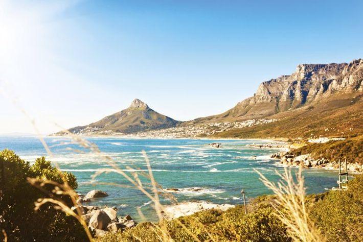 View across the Atlantic towards Lion's Head mountain, Cape Town