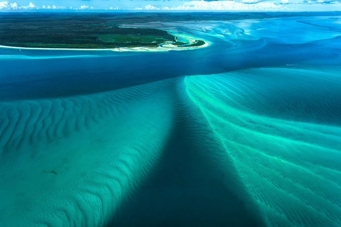 During a trip to Australia's Fraser Island, Smart shot this aerial image of the Coral Sea ...