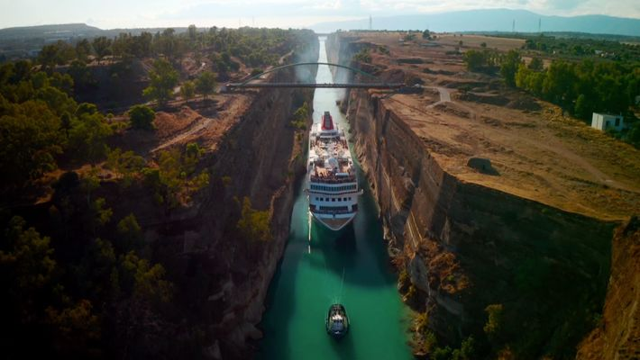 Watch a massive cruise sheep squeeze through Greece's infamous Corinth Canal