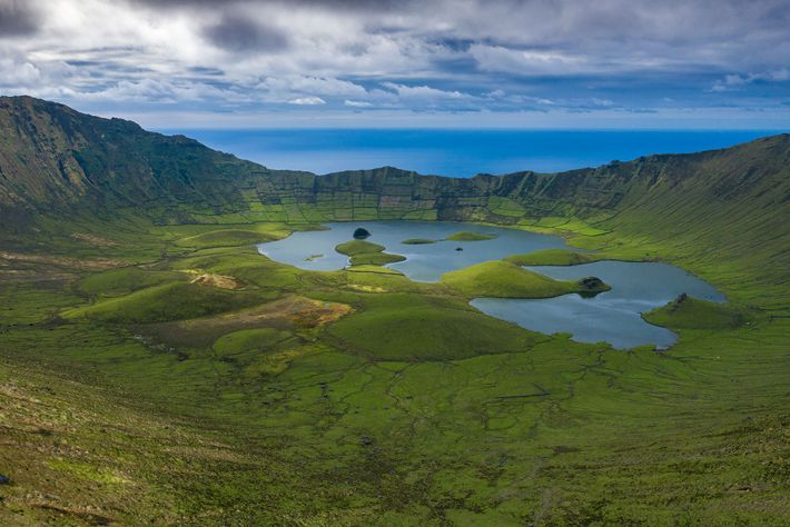 The caldeira on Corvo island is a 1,000ft-deep, mile-wide crater.