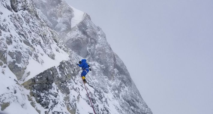 Richards is seen climbing the final summit pyramid on Everest's North Side on a previous expedition. ...