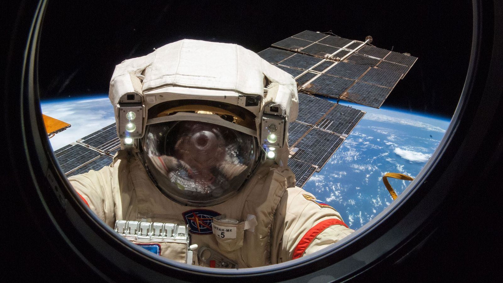 Russian cosmonaut, Alexander Skvortsov, works on the International Space Station during a five-hour, 11-minute spacewalk.