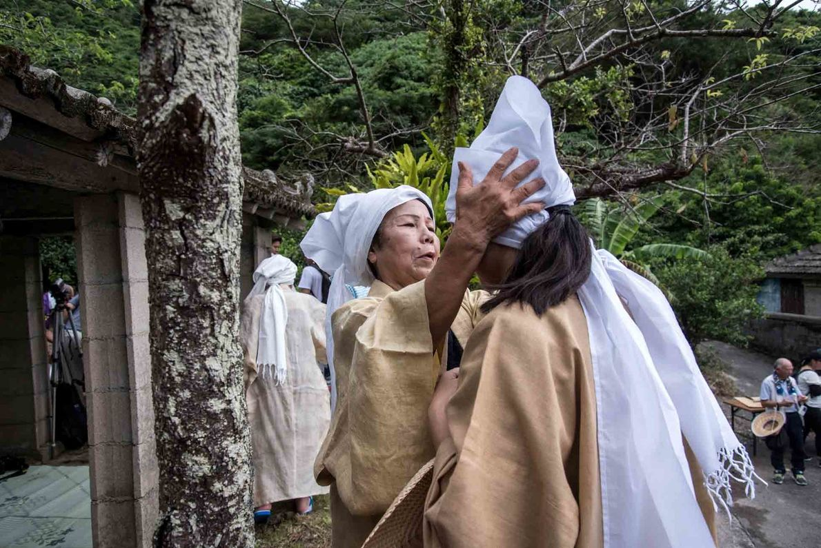 The Ungami Festival honors the sea god, but also pays tribute to the mountain gods, with ...