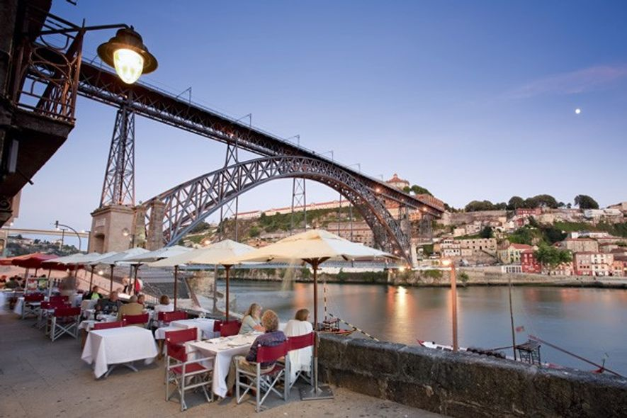 Cafe by the Dom Luis Bridge in the Ribeira district, Porto