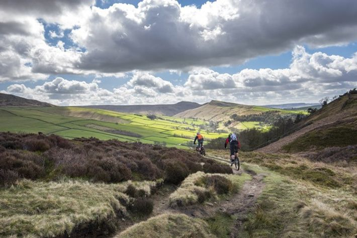 Mountain biking near Hayfield in the Peak District.