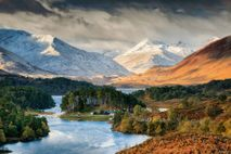 Loch Affric, surrounded by pine  forests and the mountains of Kintail, in the Northwest Highlands, ...