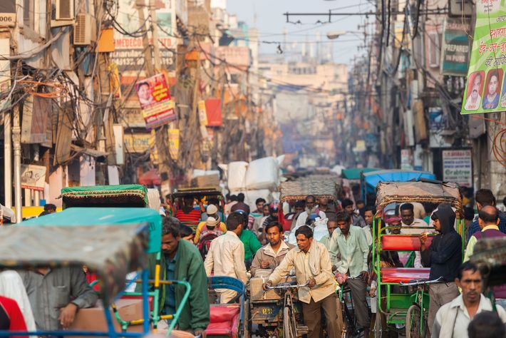 The bustling Chandni Chowk market in central Delhi.
