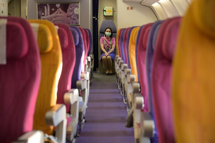 Even before flights were banned in early April, people had stopped travelling, leaving rows of empty ...