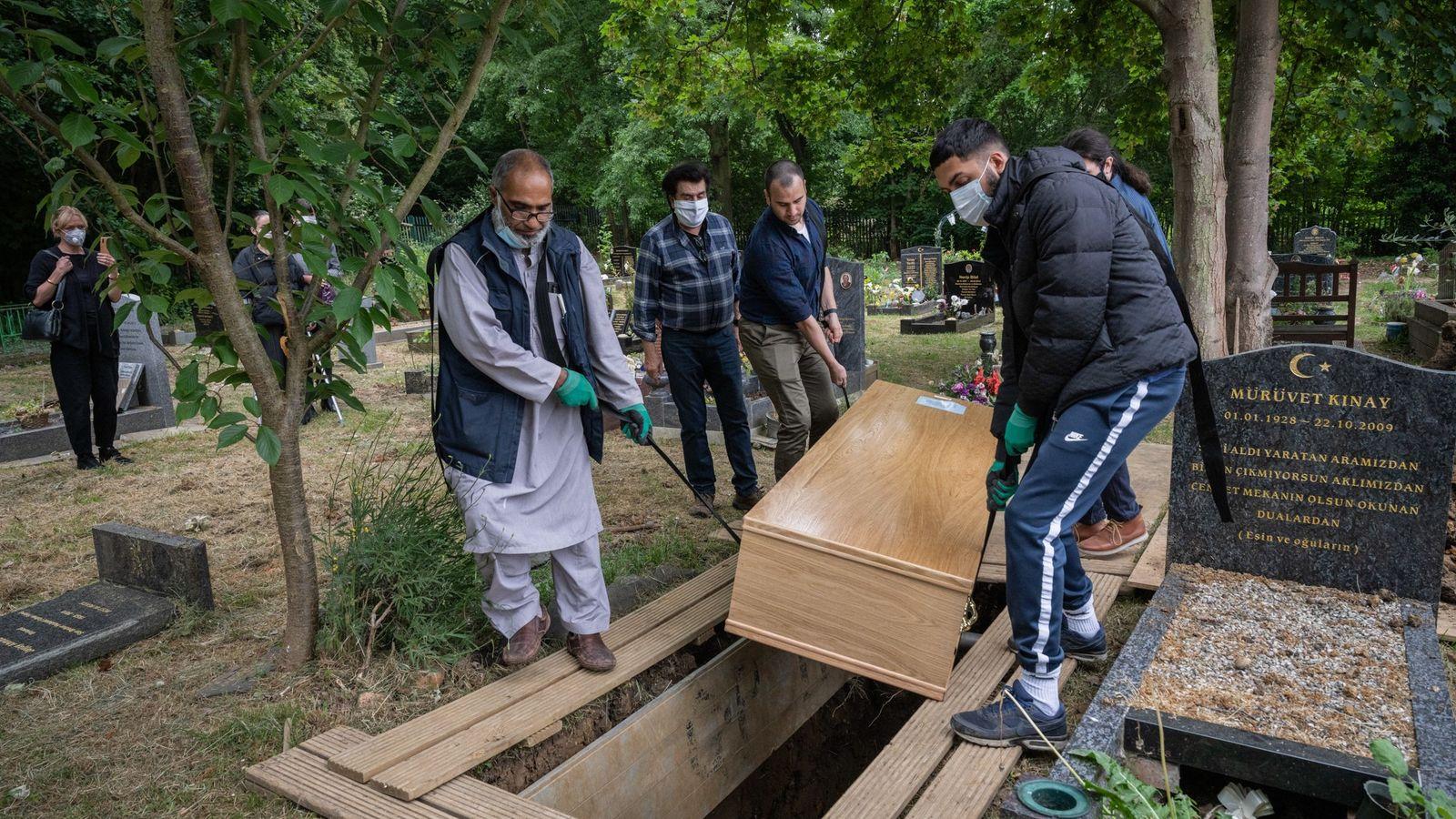 Mohammed Tariq and Zain Muhammed bin Farooq help bury Ali Ilhan Kinay, a 91-year-old man who ...
