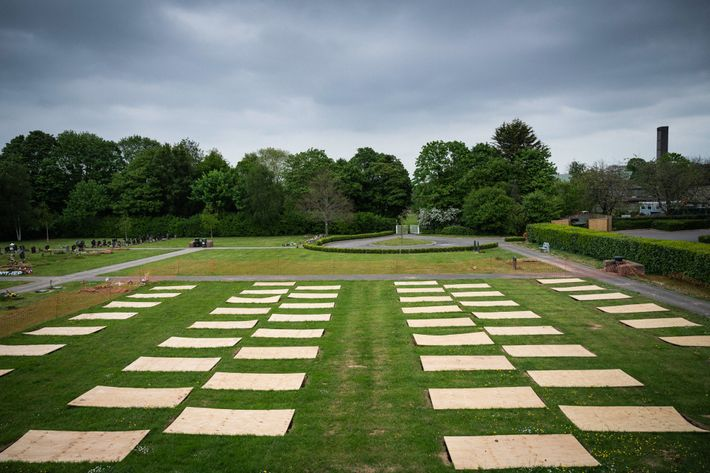 Nearly a hundred graves are prepared at the Taunton Deane Crematorium, located in rural Somerset county, ...